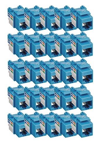 iMBAPrice (Pack of 25) Keystone Punch Down Jack Cat-5e RJ-45 - Blue -
