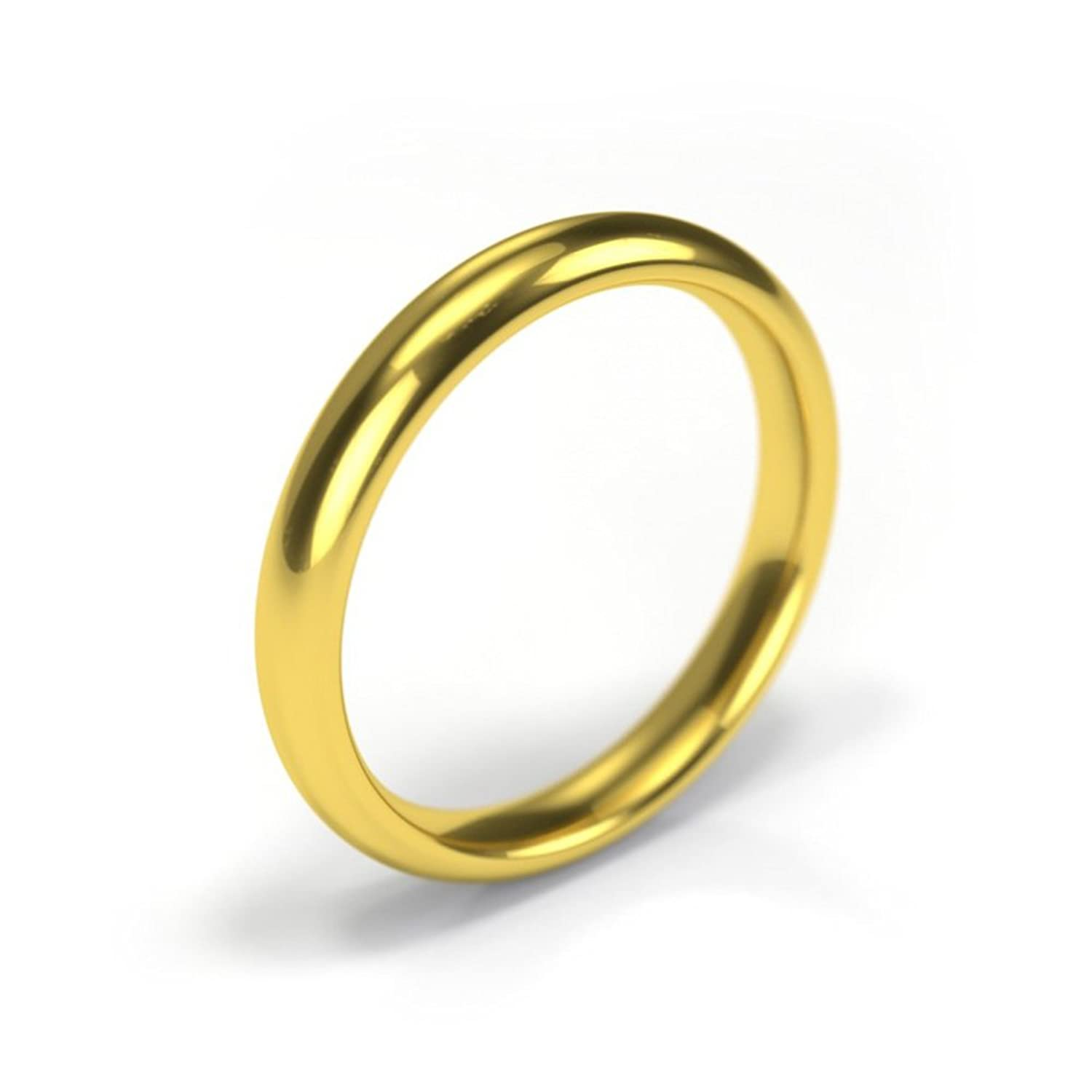18ct Yellow Gold Wedding Ring Premium Quality Court 3mm Band