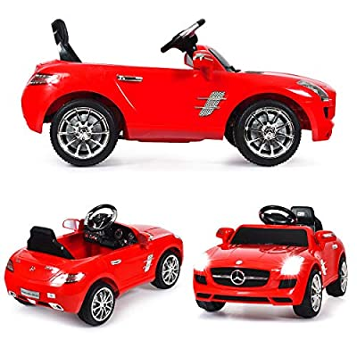 Kids Ride On Car, WATETJOY Mercedes Benz SLS Ride-On Electric Car, Battery Powered Ride On Vehicle, Parental Remote Control and Foot Pedal Modes with MP3 Player, Headlights,Horn for Child Toys Red: Toys & Games