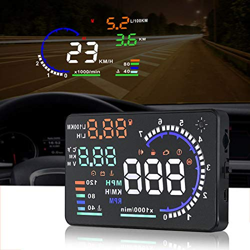 - color tree A8 HUD Head up Display for Car with OBDII EUOBD,5.5 inch Universal Digital Speedometer Car Compass with Speed, Compass, Over Speed Alarm, KMH/MPH, Windshield Projector with Film