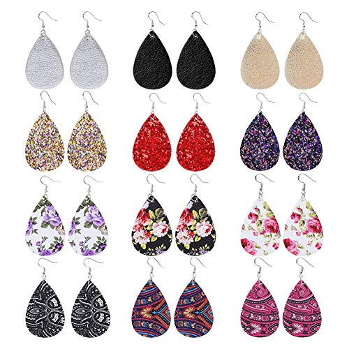 JieyueJewelry 12 Pairs Teardrop Leather Earrings for Women Girls Antique Lightweight Faux Leather Drop Earrings Petal Dangle Earrings Tear Drop Leather Earrings Double Side (A: Mix Colors)