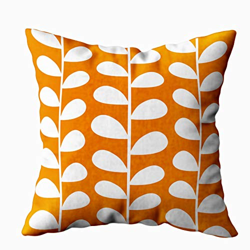 Shorping Zippered Pillow Covers Pillowcases 18X18 Inch mid century modern leaf pattern pillow in orange Decorative Throw Pillow Cover ,Pillow Cases Cushion Cover for Home Sofa Bedding