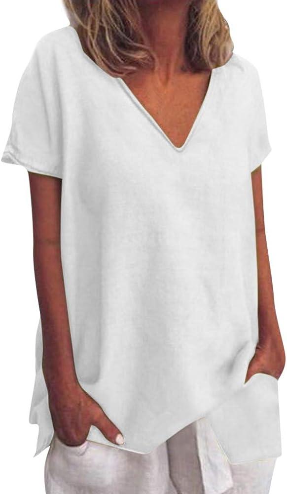 Luckycat Verano 2019 Blusa De Mujer Elegante Casual Suelto Top Mujer Blusa Camiseta Mujer Manga Corta Camisa de Lino Suelto Tallas Grandes Blusa V Cuello Camiseta Mujer Verano Basica Camiseta Tops: Amazon.es: