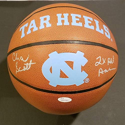 (Unc Tar Heels Charlie Scott Autographed Signed Memorabilia Logo Ball With Inscription And - JSA Authentic)