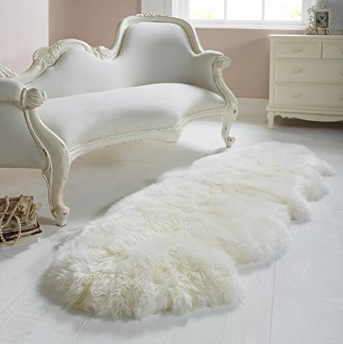 A-STAR Rugs(TM) Sheepskin Rug Double Pelt Ivory White Fur 2x6