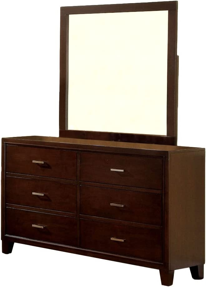 Furniture of America Sutherlin 6-Drawer Dresser and Square Mirror Set, Brown Cherry