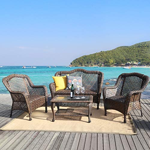 LZ LEISURE ZONE Patio Dining Table Set Outdoor Furniture PE Rattan Wicker Conversation Set All-Weather Sectional Sofa Set