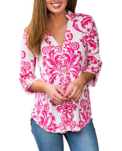 Elbow Sleeve Blouse (Tengo Women Casual V-Neck 3 17 Sleeve Tunic Tops Floral Print Blouse Shirts(Rose Red,XL))