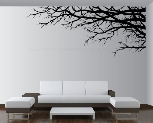 "Vinyl Wall Art Mural Decal Tree Top Branches 67""(w) X 28 1/2""(h) Right To Left (Black)"