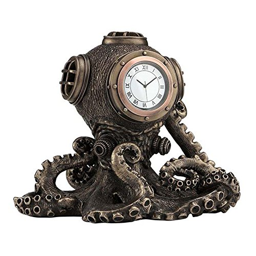 XoticBrands Steampunk Octopus Diving Bell Clock-Animal Statue, Bronze