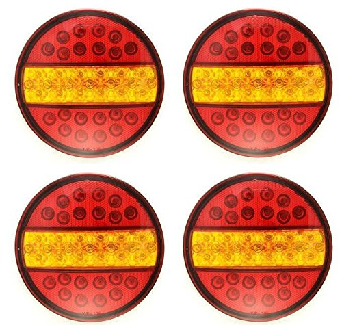 4x LED Hamburger Stop Tail Lights 24V Truck Trailer Chassis Caravan Tipper universal YP108RY