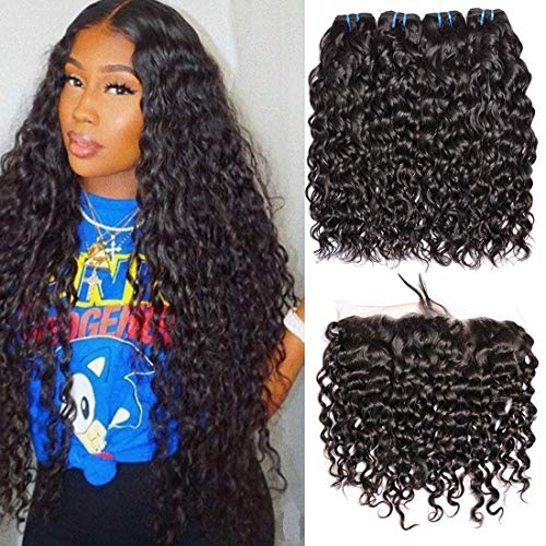 Brazilian Water Wave 3 Bundles With Frontal Closure Free Part Wet And Wavy 8A Virgin Curly Human Hair Bundles With 13x4 Lace Frontal Closure (16 18 20 + Fr 14)