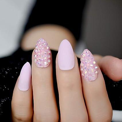 EchiQ - Uñas postizas con purpurina en color rosa y almendra: Amazon.es: Belleza