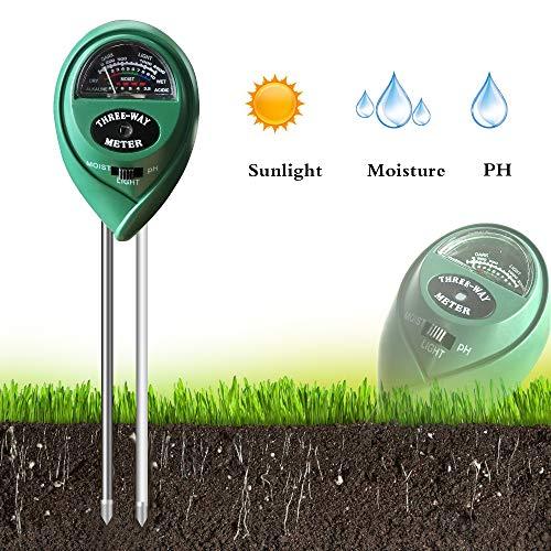 (QMOEH Soil Tester, Soil PH Meter, Soil Moisture Meter, Soil Light Meter, 3-in-1 Soil Test Kit for Garden, Farm, Lawn, Indoor & Outdoor (No Battery Needed))