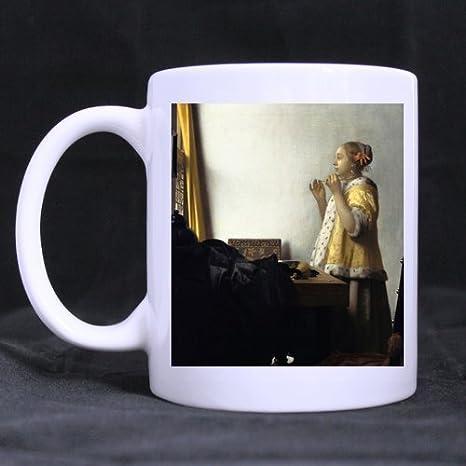 Regalos de cumpleaños Regalos Jan Vermeer - Mujer con un collar de perlas Taza de técafévino 100% Cerámica Taza blanca de 11 onzas