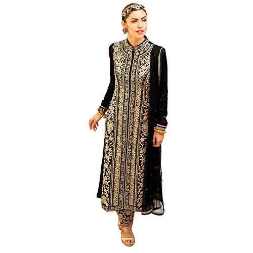 Fab-Glory-Designer-Black-Anarkali-Wedding-Bridal-Semi-Stitched-Salwar-Kameez