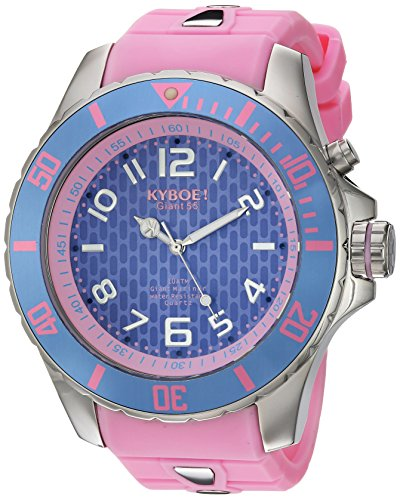 KYBOE! 'Power' Quartz Stainless Steel and Silicone Casual Watch, Color:Pink (Model: KY.55-016.15)
