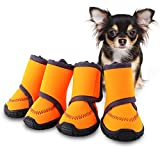 #4: HAVEGET Waterproof Dog Shoes Fluorescent Orange Dog Boots Velcro and Rugged Anti-Slip Sole Paw Protectors for All Weather Comfortable Easy to Wear Suitable for Small Dog (XS)