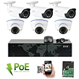 GW Security 8CH 5 Megapixel 1920P Video Home Security Camera System, 3pcs HD 1920p 5MP Outdoor Bullet & 3pcs Dome IP Camera ,80-120ft Night Vision, 330ft Transmit Range, 3TB HDD