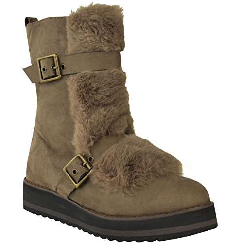 Fleece Boots Brown Mocha Fur Winter Flat Low Wedge Shoes Fashion Ankle Lining Faux Size Womens Faux Suede Thirsty 0qS818