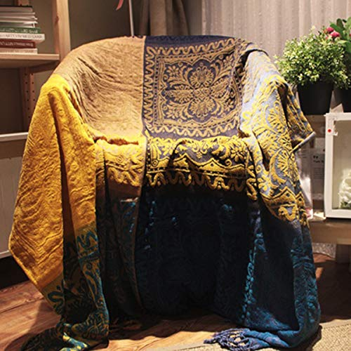 (Homiest Bohemian Chenille Throw Blanket with Fringes 60 x 75 for Bed Couch Decorative Soft Chair Cover)