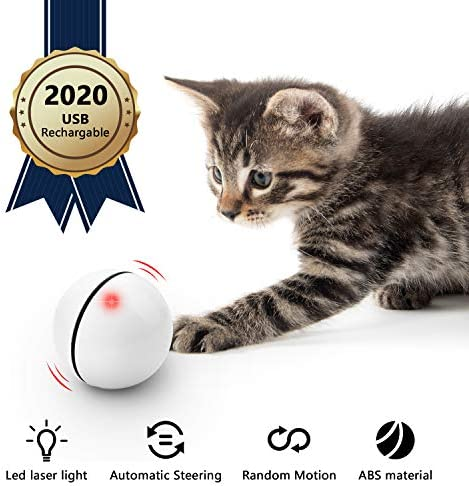 UNZANO Interactive Cat Toys for Indoor Cats with Built-in Red Led Light, USB Rechargeable, Auto Twists and Turns Cat Ball Toy & Chasers to Encourage Your Pet's Exercise, Chasing & Hunting Ability 2