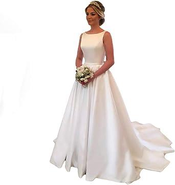 Amazon Com Ruolai Women S Satin Off Shoulder Church Wedding Dresses A Line Bridal Gowns Clothing