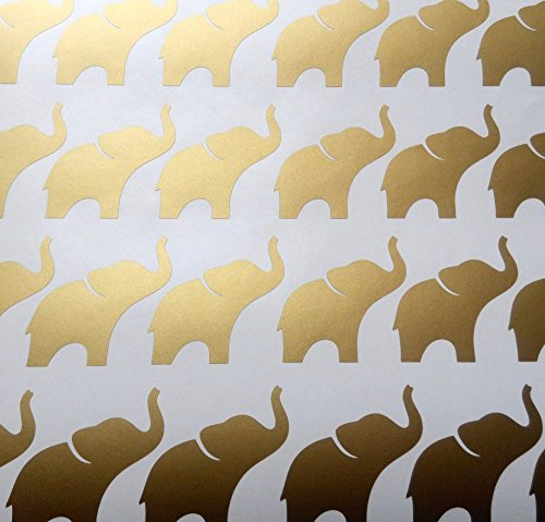 20 elephant stickers peel and stick Party décor cups invitations Wall Sticker sheets Decal Gold Silver Black Many Colors Crafts Scrapbooking Birthday Envelope Seals girl princess baby shower from EtagaDesigns