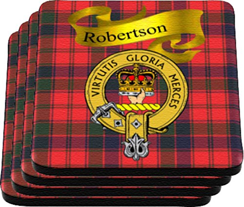 - Scottish Clan Robertson Made in USA on Cloth topped rubber Coaster Set of 4
