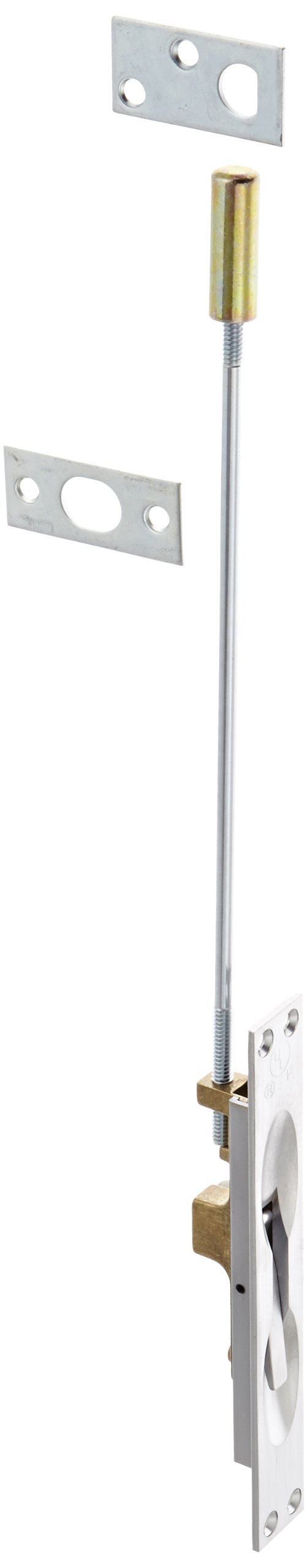 Rockwood 555.26D Lever Extension Flush Bolt for Fire-Rated Swinging Hollow Metal Doors, 1'' Width x 6-3/4'' Height, Brass Satin Chrome Plated Finish