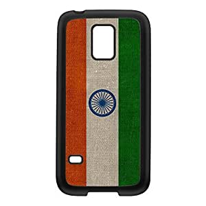 Canvas Flag of India - Indian Flag Black Silicon Rubber Case for Galaxy S5 Mini by UltraFlags + FREE Crystal Clear Screen Protector
