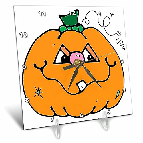 Cute Halloween Desktop Pics (3dRose dc_131121_1 Halloween Cute Boy Pumpkin Desk Clock, 6 by 6-Inch)