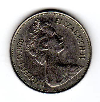 Coins United Kingdom/Great Britain. One Single 5 New Pence Elizabeth II Cupro Nickel Coin Dated 1979.