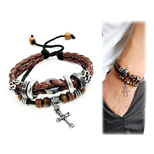 Suyi Multilayer Adjustable Leather Woven Braided Bangle Cross Bracelet Leaf Wrist Cuff Wristband Ccoffee Woven Leaf Ring