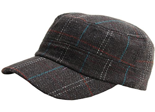 A115 Wool Herringbone Royal Check Pattern Style Club Army Cap Cadet Military Hat (Wool Cadet Hat)
