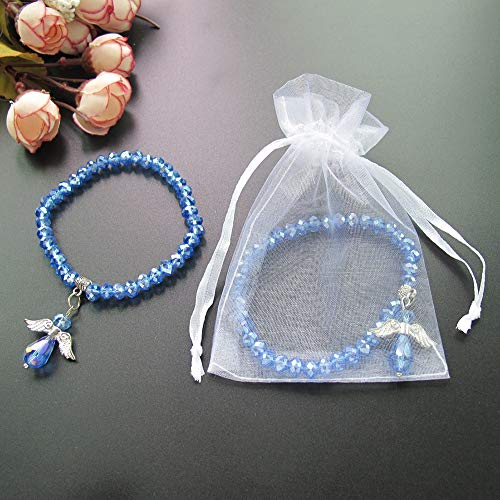 Crystal Angel Charm Bracelet Blue 12 PCS - Baptism Favor/Christening Favor/Recuerdos de Bautizo/Quinceanera/Baby Shower