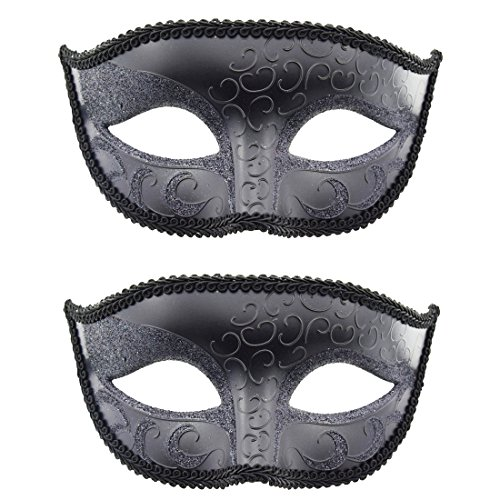 [TANKEY Pack of 2 Fashion Men's Masks Set for Masquerade Wedding Ball Halloween Party (Blackx2)] (Party City Costume Fashion Masks Masquerade)