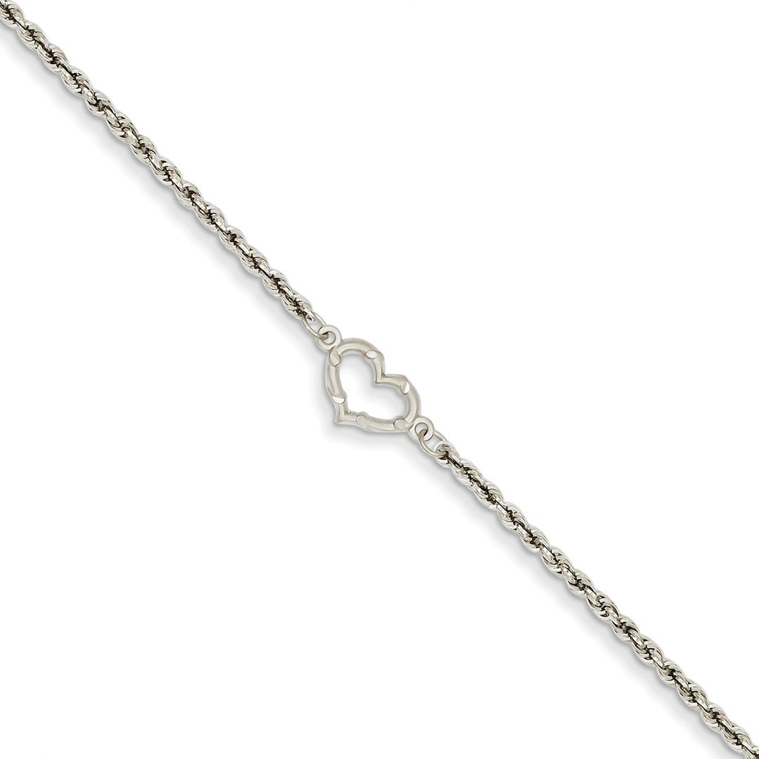 14kt White Gold Link Rope Heart Anklet Ankle Beach Chain Bracelet Fine Jewelry For Women Gift Set ICE CARATS IceCarats 1400088582354611461