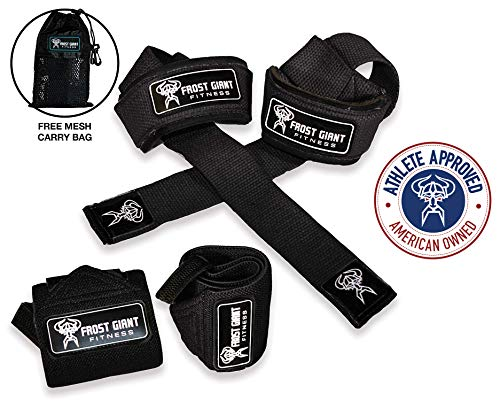 Frost Giant Fitness: Wrist Wraps + Lifting Straps Combo Set w/Carry Bag | Heavy Duty Hand and Wrist Support (Weightlifting, Crossfit, Powerlifting, Bodybuilding, Weight Training, Workout), Black ()