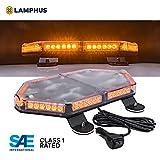 "LAMPHUS NanoFlare NFMB56 17"" 56W LED Mini Light Bar [SAE Class 1] [63 Flash Patterns] [12ft Cord] [Magnet/Permanent Mount] Emergency Strobe Hazard Warning Light - Amber"