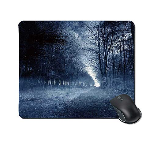 Halloween Durable Mouse Pad,Ghostly Haunted Forest Image Bleak Gloomy Misty Nature Landscape Decorative for Office Home,9.4