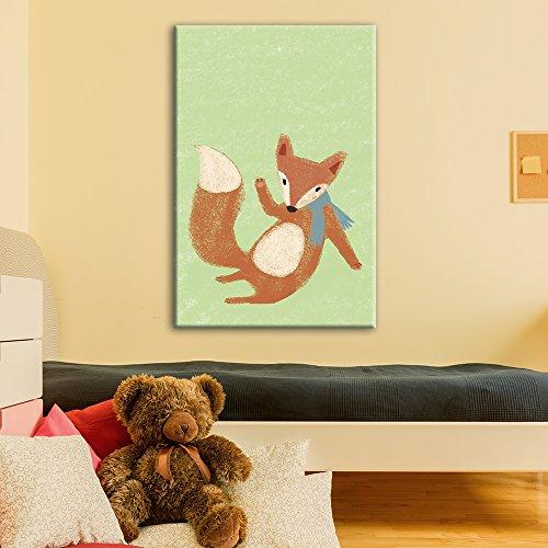 Cute Cartoon Animals A Red Fox on Green Background Kid