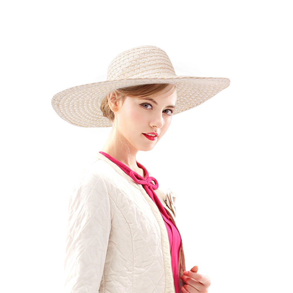 Di lusso Women Panama hat-UPF50- Plain Woven Natural Floppy Straw Beach Hat Beige