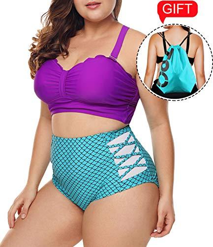 (2019 Women's Plus Size Swimsuit High Waisted Split Ruffles Push up Halter Bikini Set (XX-Large (fits Like US 18-20), B-Mermaid))