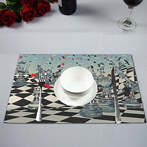 12' Chess Set - Artsadd Placemats for Dining Table Fantasy Chess Kitchen Table Mat Placemat 12''x18'' Set of 2