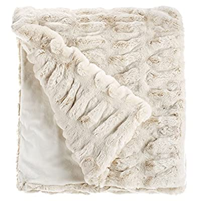 "Fabulous Furs: Faux Fur Luxury Throw Blanket, Ivory Mink, Available in generous sizes 60""x60"", 60""x72"" and 60""x86"", by Donna Salyers - Heavy enough for cold winter nights as well as air conditioned days! 100% acrylic lined in cozy soft tonal velvet Ships in a reusable and resealable designer carry bag - blankets-throws, bedroom-sheets-comforters, bedroom - 515vESO5KaL. SS400  -"