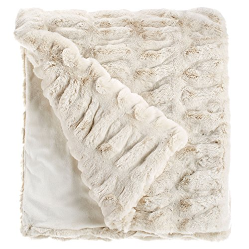 Fabulous Furs  Faux Fur Luxury Throw Blanket  Ivory Mink  Available In Generous Sizes 60 X60   60 X72  And 60 X86   By Donna Salyers