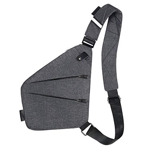 flintronic Brusttasche mit USB-Aufladung, Brusttasche Sling mit Verstellbarem, Rucksack Schultertasche für Männer (einschließlich 1 * USB-Kabel) - Grau
