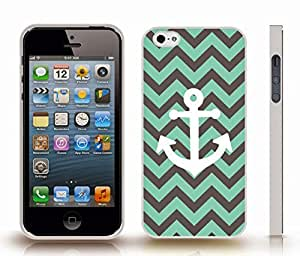 iStar Cases? iPhone 5/5S Case with Chevron Pattern Dark Grey/ Mint Stripes White Anchor , Snap-on Cover, Hard Carrying Case (White)