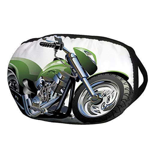 Fashion Cotton Antidust Face Mouth Mask,Motorcycle,Motorcycle Design with Fancy Supreme Gears and Metal Tires Action Urban Life,Green Silver,for women & men ()